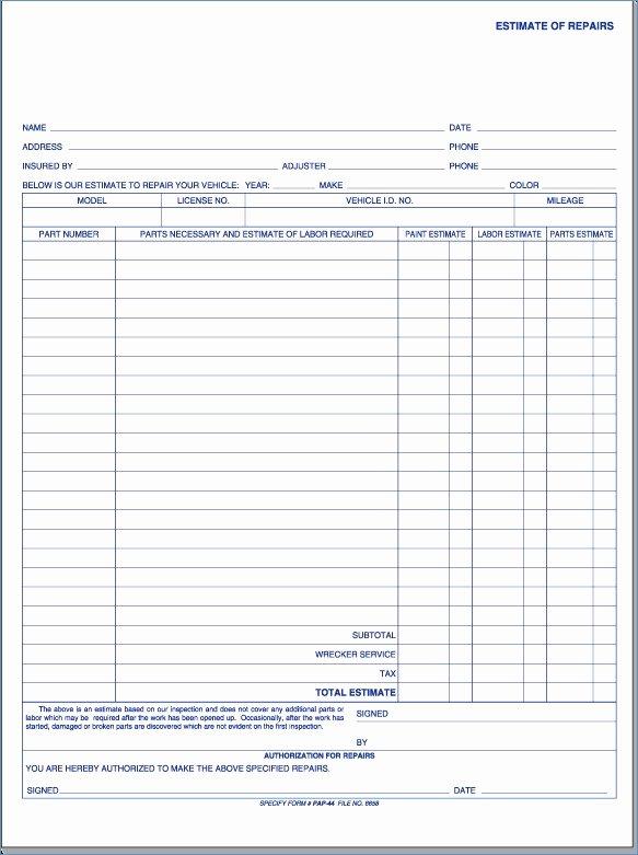 auto body shop estimate forms kenicandle fortzone free body shop estimate template