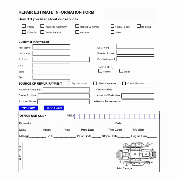 Body Shop Estimate Template Luxury Auto Repair Estimate Template Excel