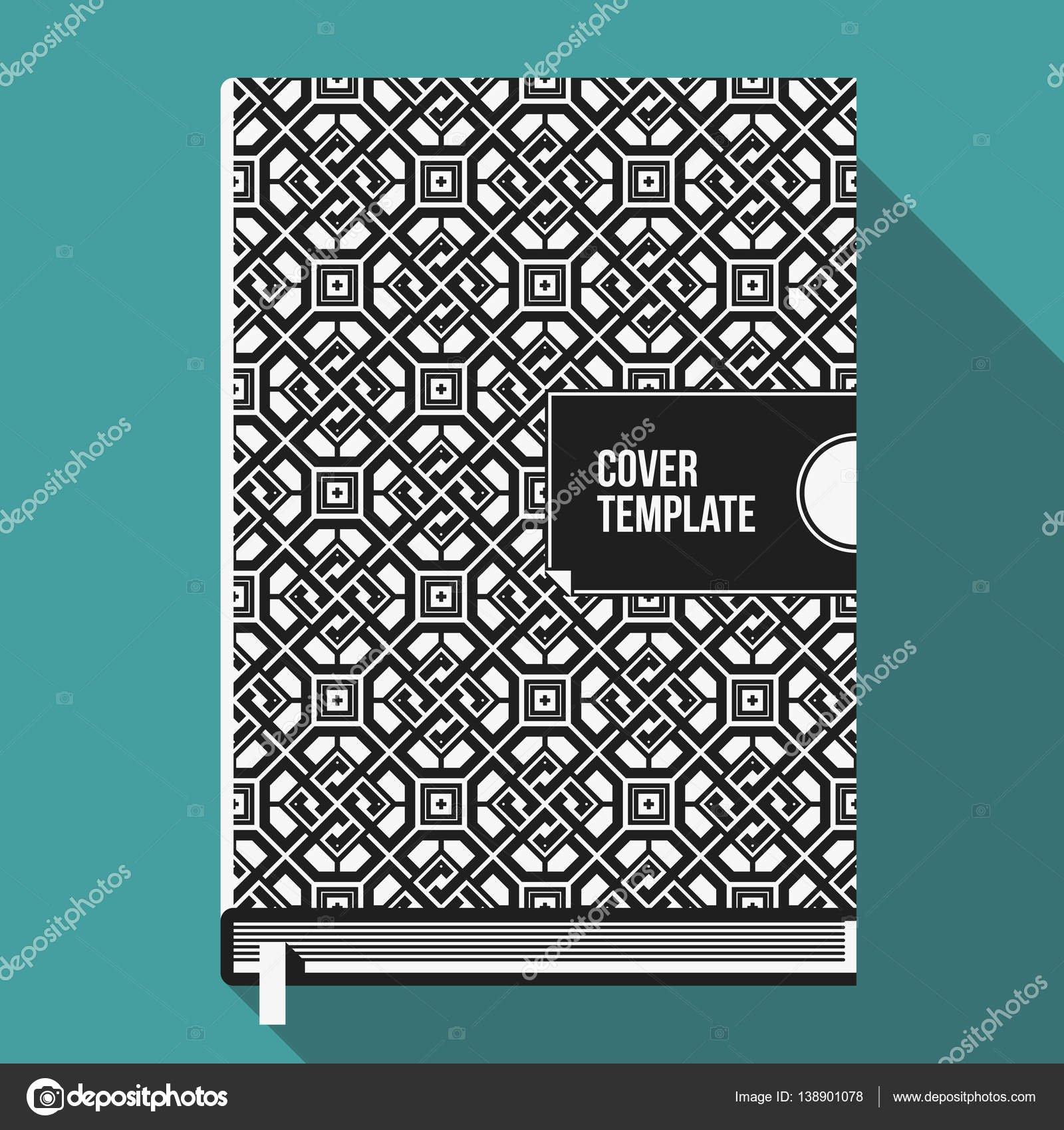 Book Cover Template Illustrator Elegant Szablon Projektu Okładki Książki Z Monochromatycznym Wzór