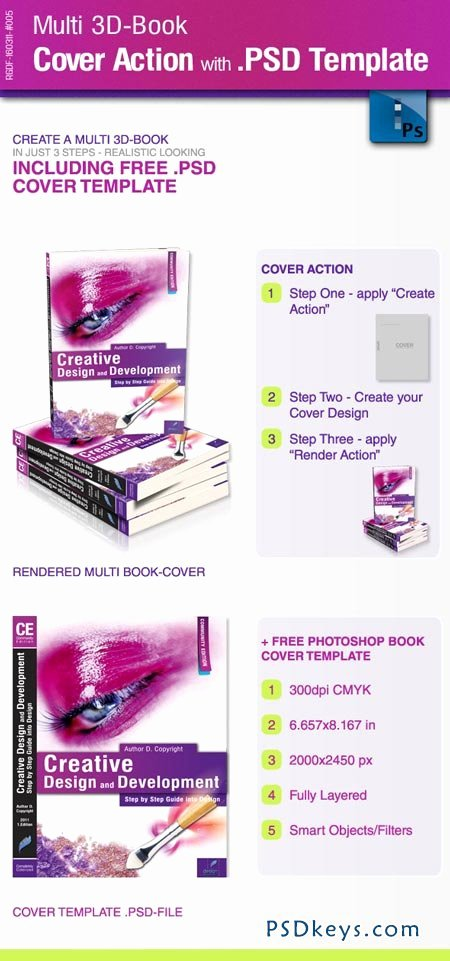 Book Cover Template Psd Elegant Multi 3d Book Cover Action with Psd Template