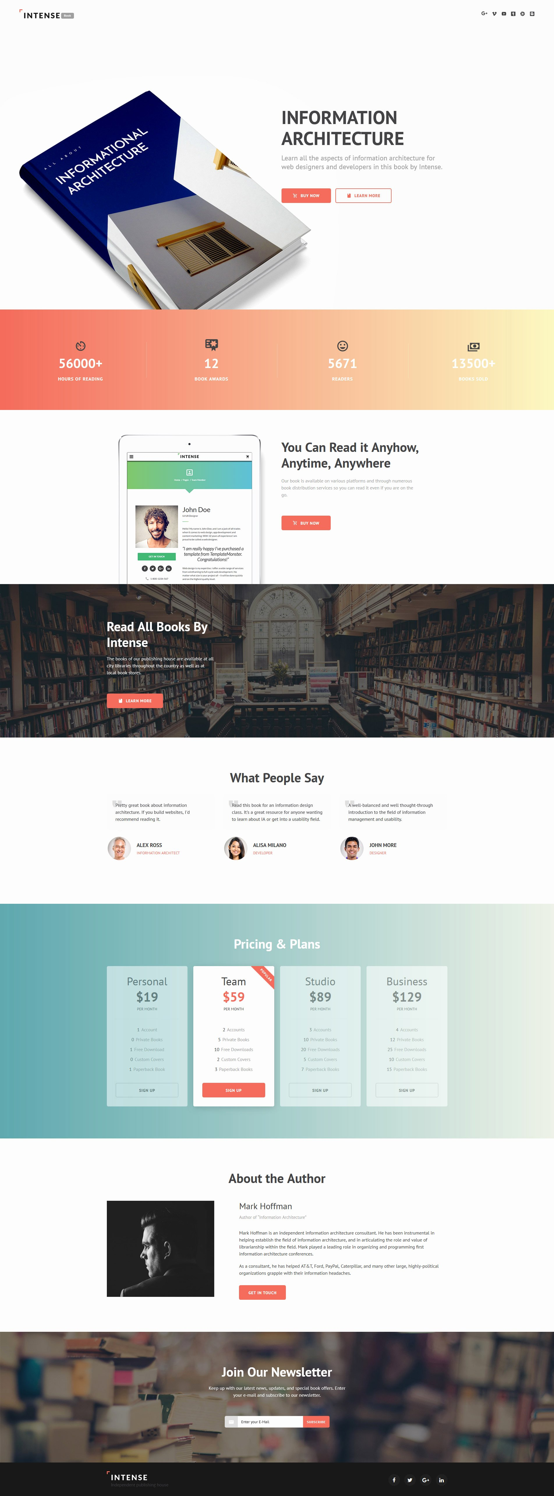 Book Landing Page Template Awesome Books Landing Page Template
