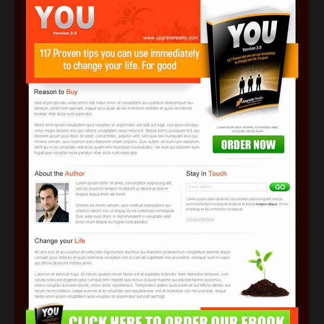 Book Landing Page Template Awesome Landing Page Design Templates to Sell Your E Book Ebook