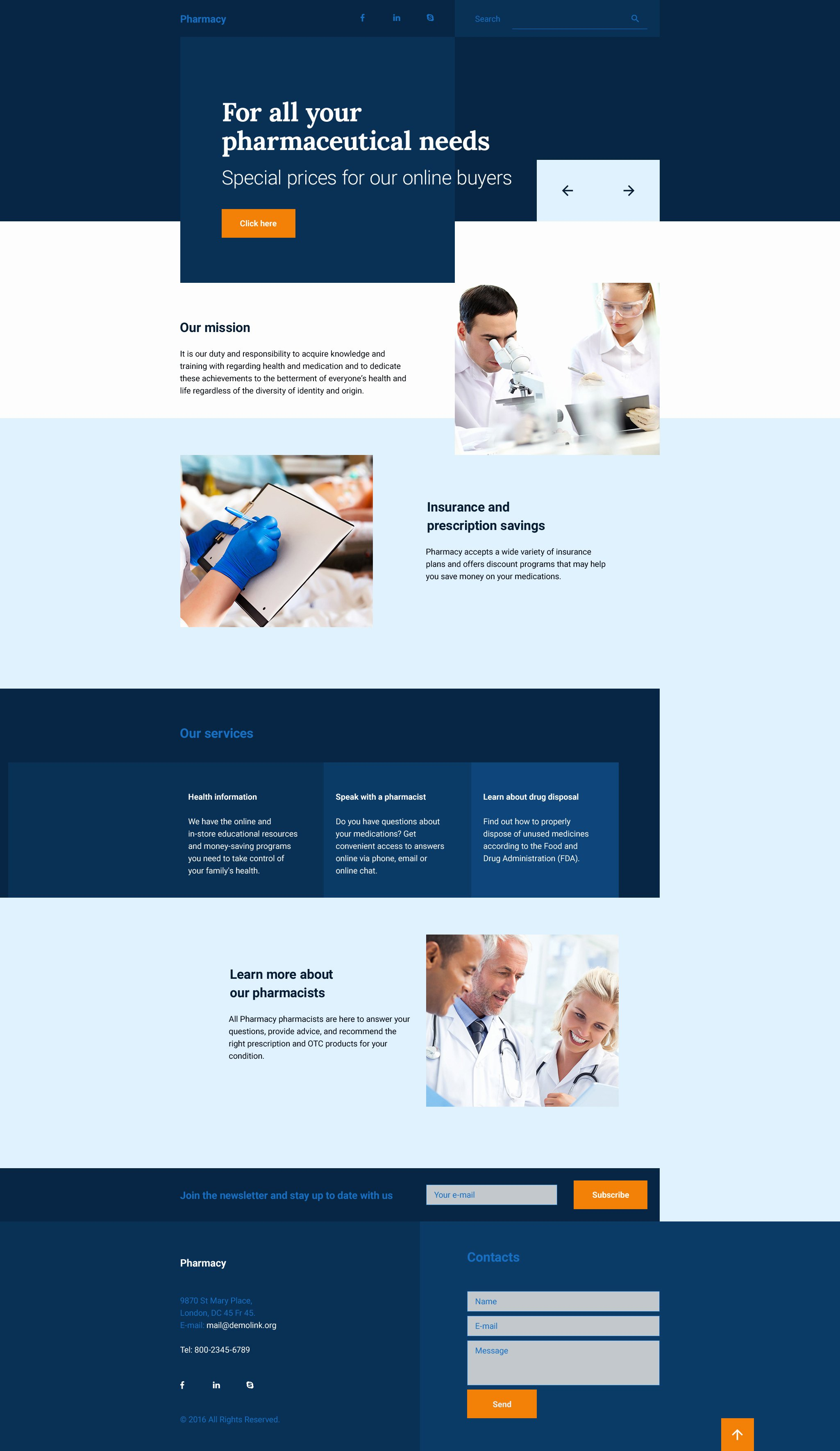 Book Landing Page Template Elegant Drug Store Responsive Landing Page Template