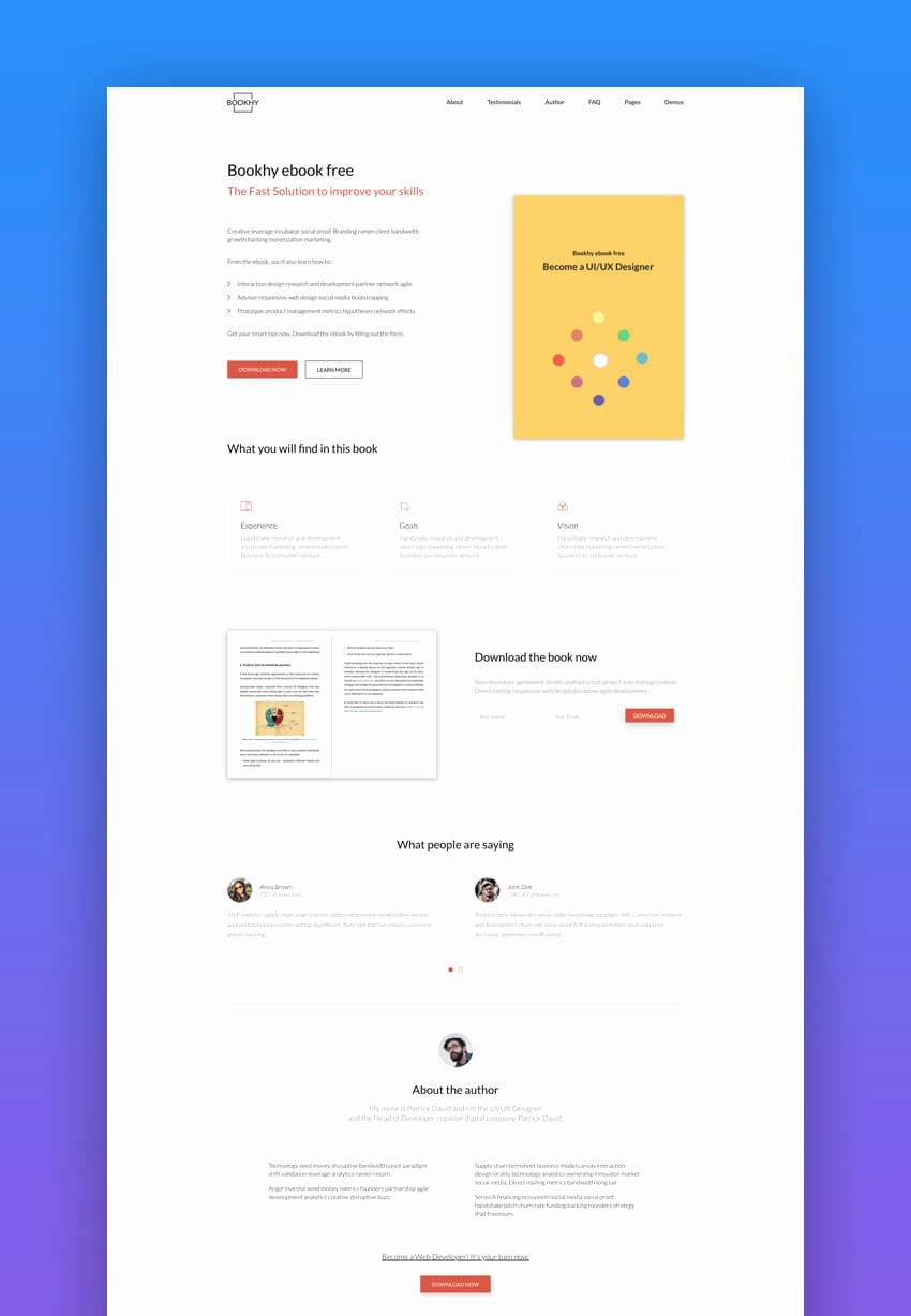 Book Landing Page Template Luxury 20 Best Book & Ebook Landing Page theme Designs 2018