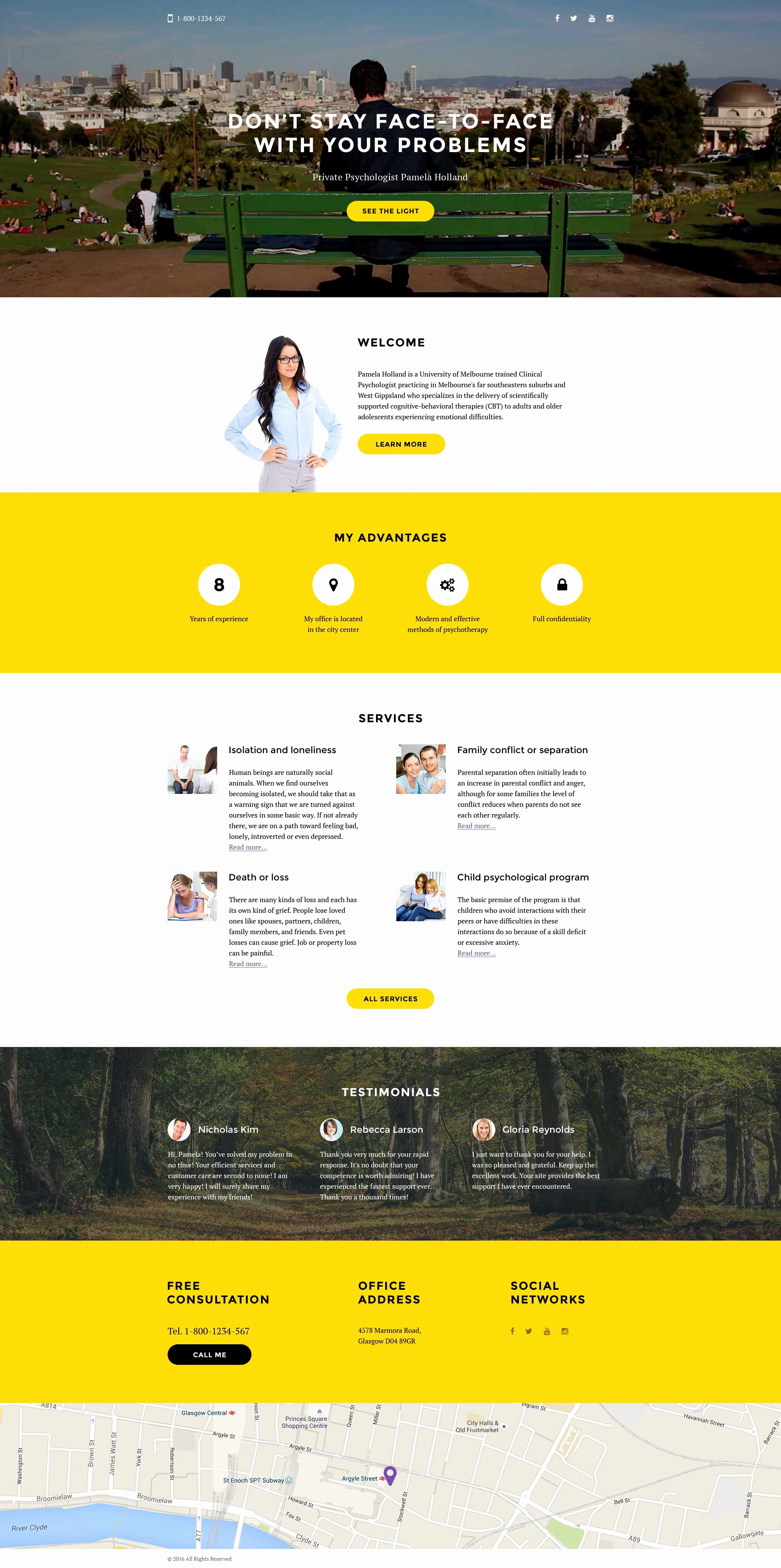 Book Landing Page Template New Psychologist Responsive Landing Page Template
