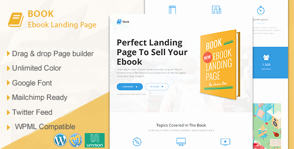 Book Landing Page Template Unique Book Responsive Ebook Landing Page Wordpress theme by