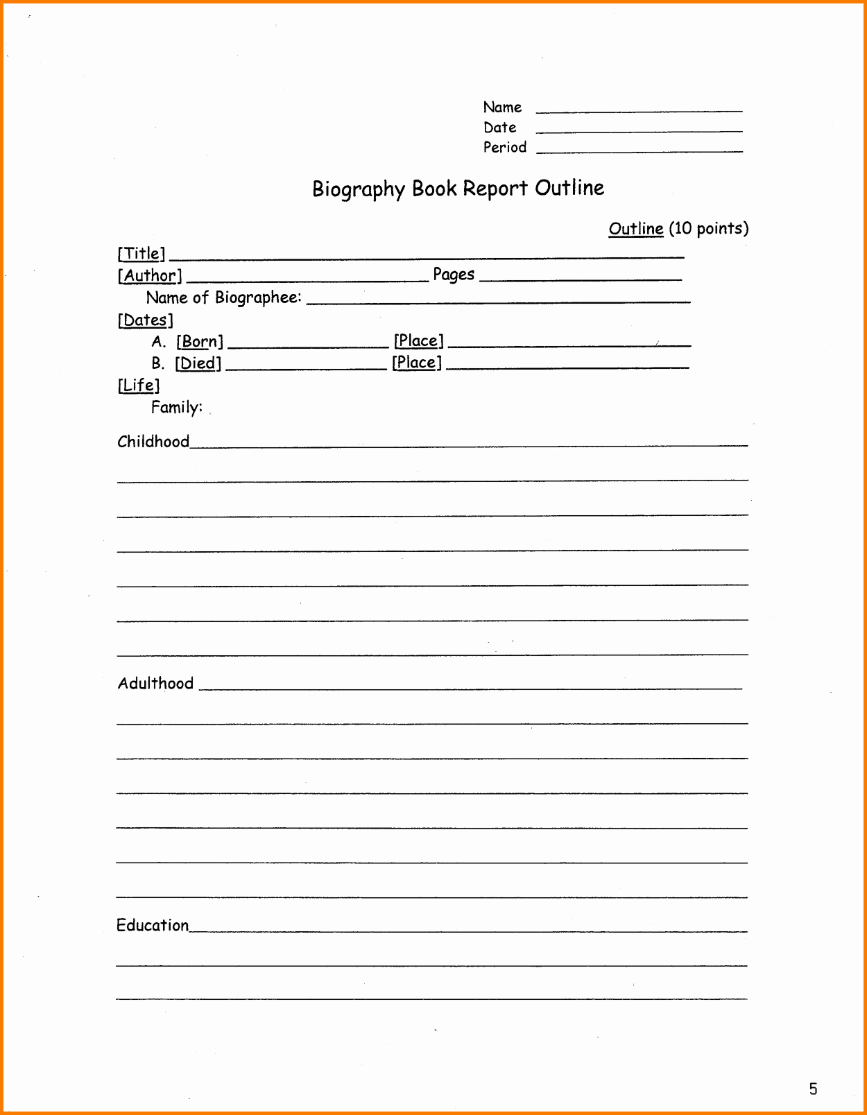 Book Report Outline Template Elegant A Book Report Outline Bamboodownunder