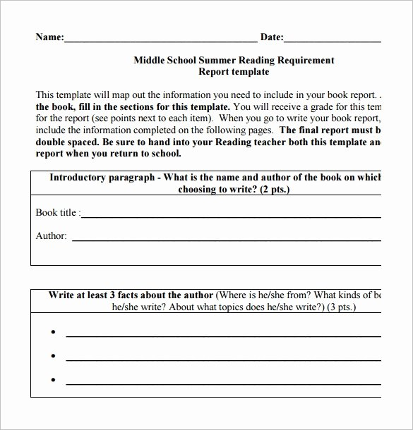 Book Report Outline Template Unique 6 Middle School Book Report Templates & Samples Doc