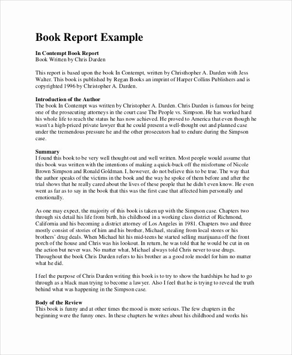 Book Review Template Pdf Lovely Sample Book Report 10 Documents In Pdf Word