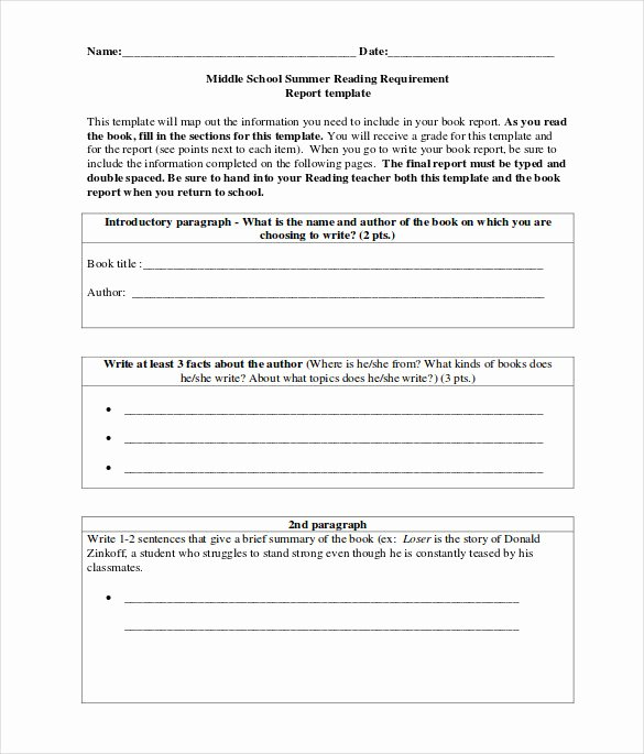 book report form for middle school students
