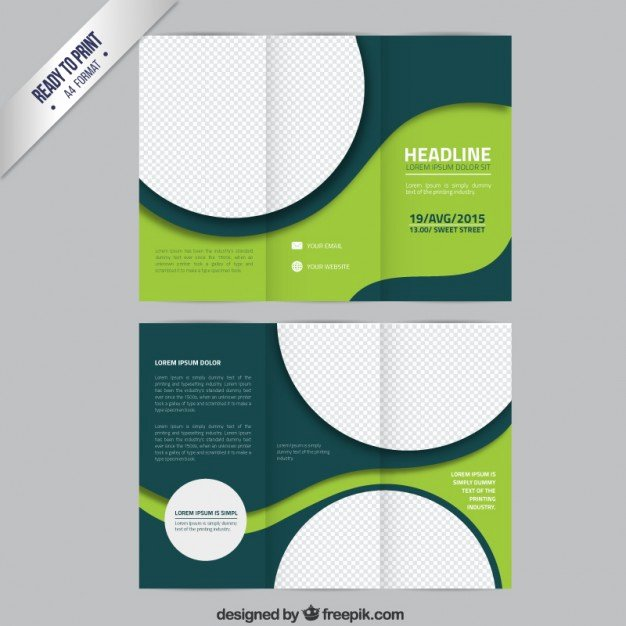 Booklet Template Free Download Unique Green Brochure Template with Circles Vector