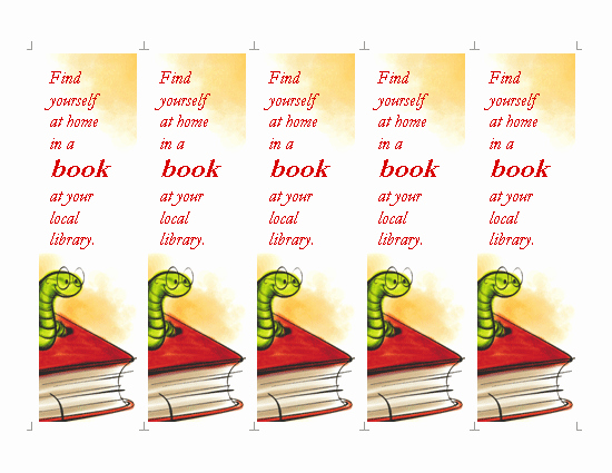 Bookmark Template for Word Unique Library Bookmark Template