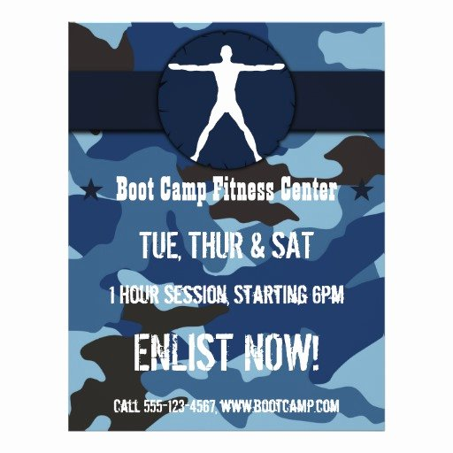 Boot Camp Flyer Template Best Of Body Madness Blue Camo Boot Camp Fitness Flyers Custom