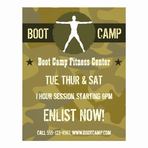 Boot Camp Flyer Template Luxury Body Madness Green Camo Boot Camp Fitness Flyers