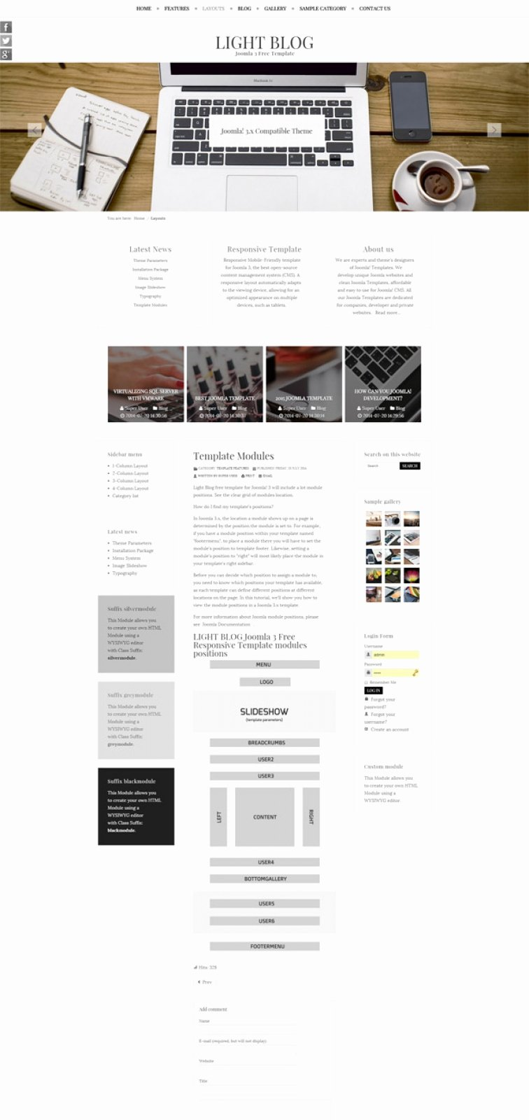 Bootstrap Blog Template Free New Light Blog Free Joomla 3 Responsive Bootstrap Template