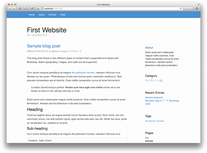 Bootstrap Blog Template Free Unique Bootstrap謹製ブログテンプレートを利用したmovable Type 6用のテーマ作成中