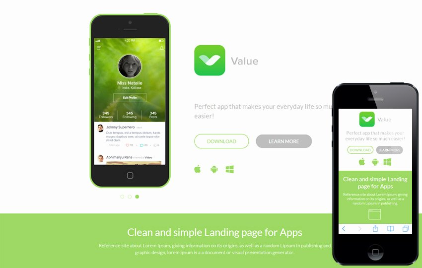 Bootstrap Mobile App Template Lovely Value A Mobile App Based Flat Bootstrap Responsive Web
