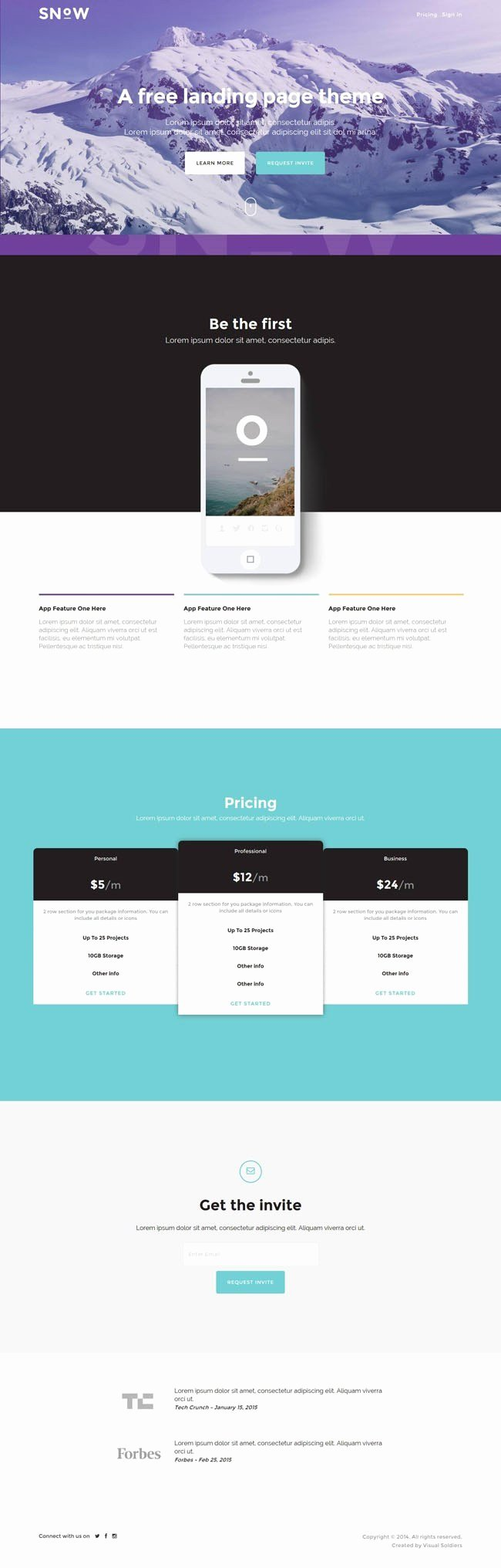 Bootstrap Mobile App Template New Snow Free Bootstrap Mobile App Landing Page Template