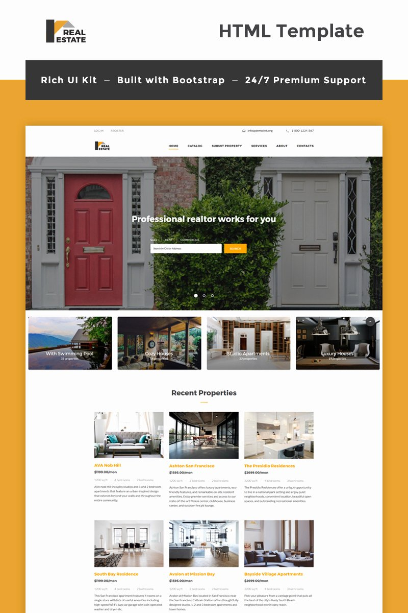 Bootstrap Real Estate Template Elegant Real Estate Bootstrap HTML Template