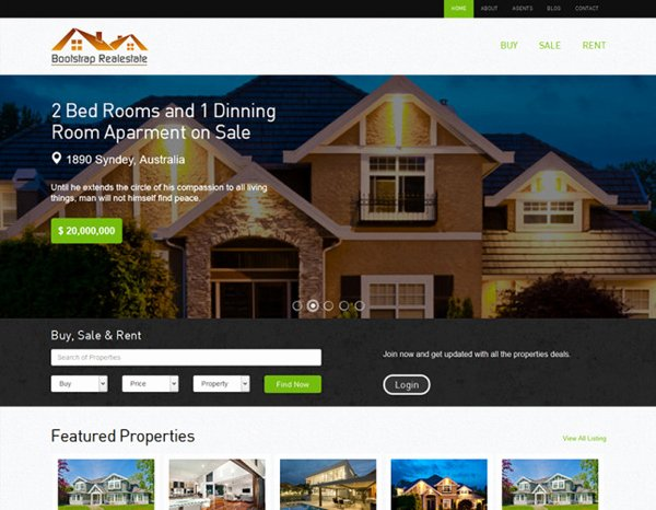Bootstrap Real Estate Template New 30 Best Free and Premium Bootstrap HTML5 Responsive