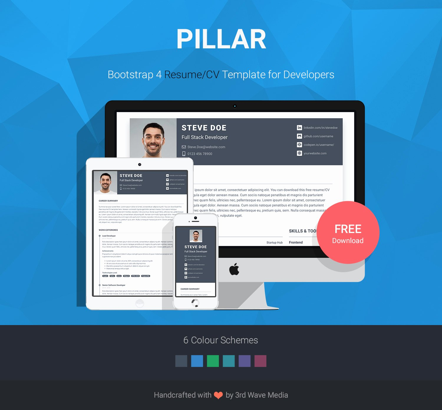Bootstrap Resume Template Free Best Of Pillar Free Bootstrap 4 Resume Cv Template for