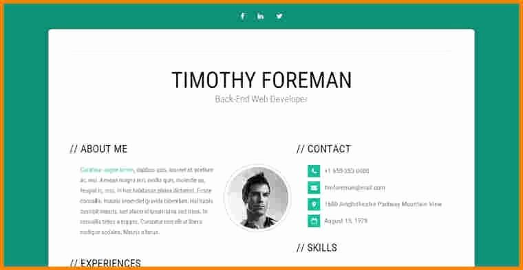 Bootstrap Resume Template Free Fresh Bootstrap Resume Template Russiandreamsfo