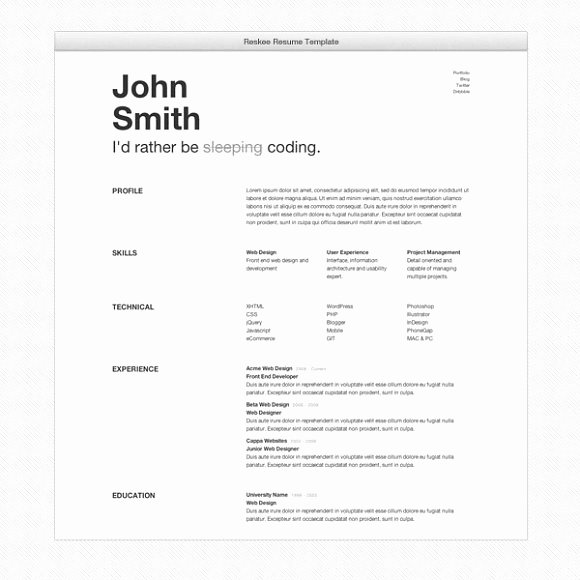 Bootstrap Resume Template Free Fresh Reskee 3 Themes