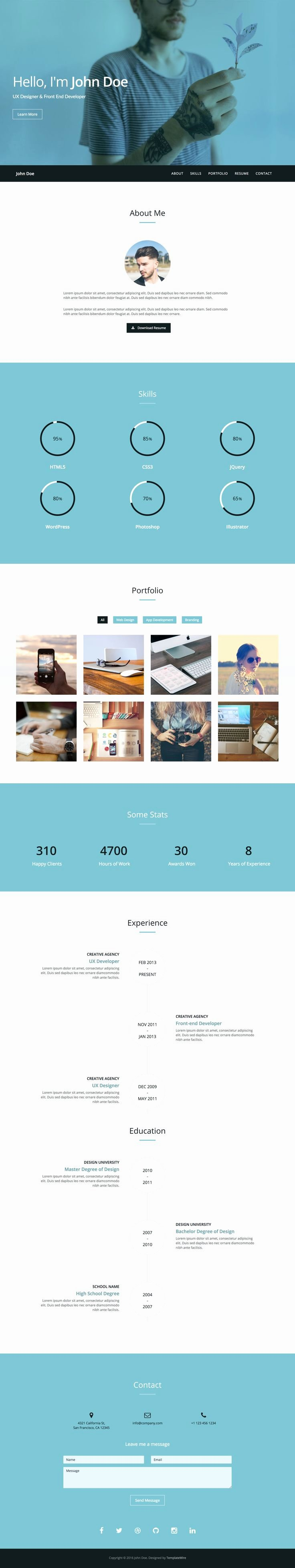 Bootstrap Resume Template Free Lovely Twitter Bootstrap Resume themes Free Bongdaao