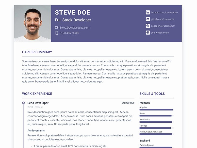Bootstrap Resume Template Free New Pillar Free Bootstrap 4 Resume Cv Template for