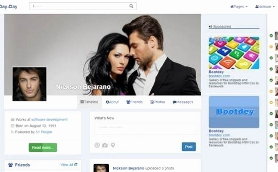 Bootstrap social Network Template Best Of Day Day V1 Bootstrap social Network Template
