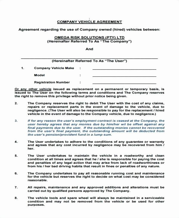 Borrowed Vehicle Agreement Template Elegant Revenue Sharing Agreement Template Inspirational Awesome