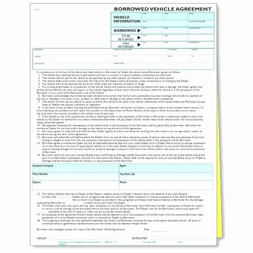 Borrowed Vehicle Agreement Template Fresh Printable Sample Vehicle Use Agreement Auto Loan Borrowed