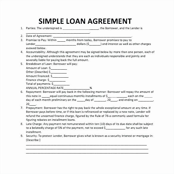 Borrowed Vehicle Agreement Template Inspirational Sample Lending Contract format Loan Template Free Download