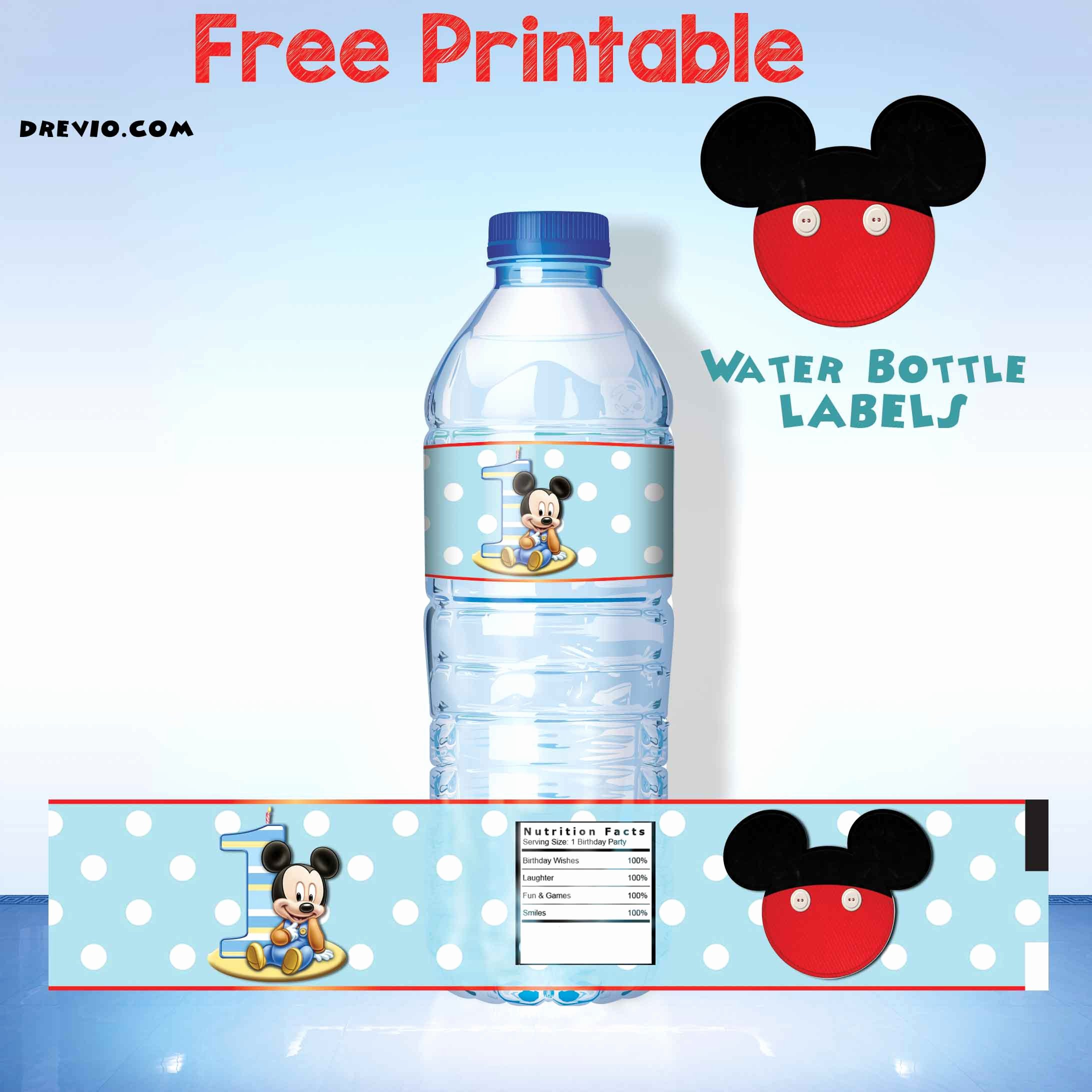 Bottle Label Template Free Luxury Free Printable Mickey Mouse Water Bottle Label