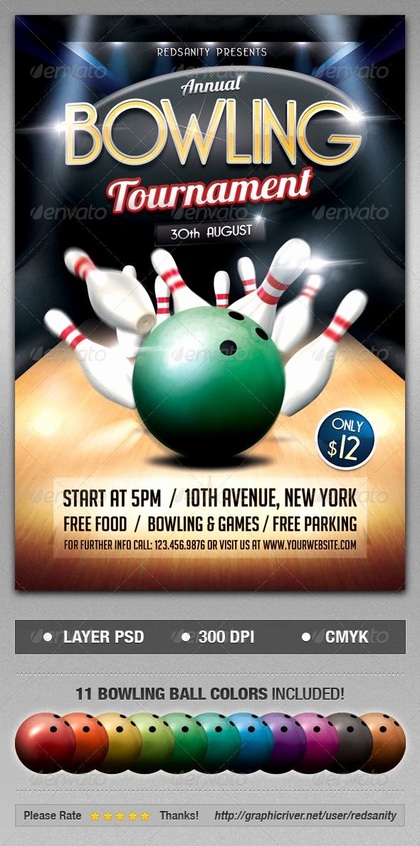 Bowling Flyer Template Free Awesome Bowling tournament Flyer