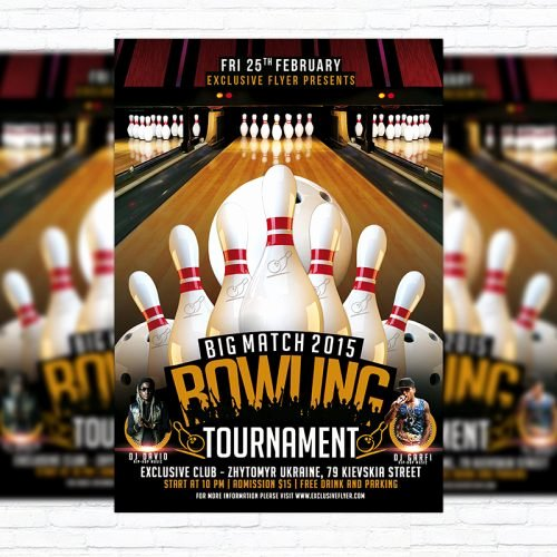 Bowling Flyer Template Free Awesome Bowling tournament – Premium Psd Flyer Template