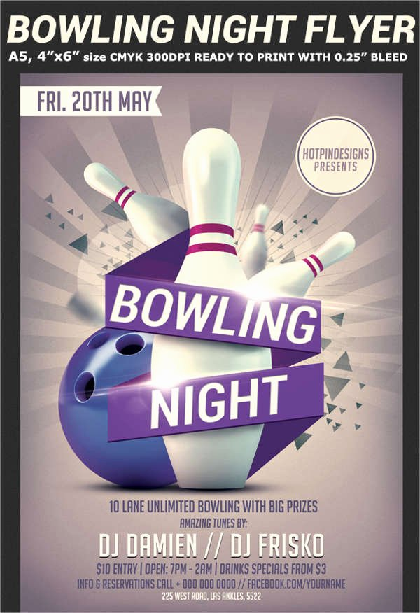 Bowling Flyer Template Free Awesome Free Bowling Flyer Template Yourweek A5f99aeca25e