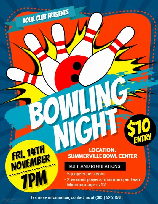 Bowling Flyer Template Free Best Of Bowling Night Flyer Template