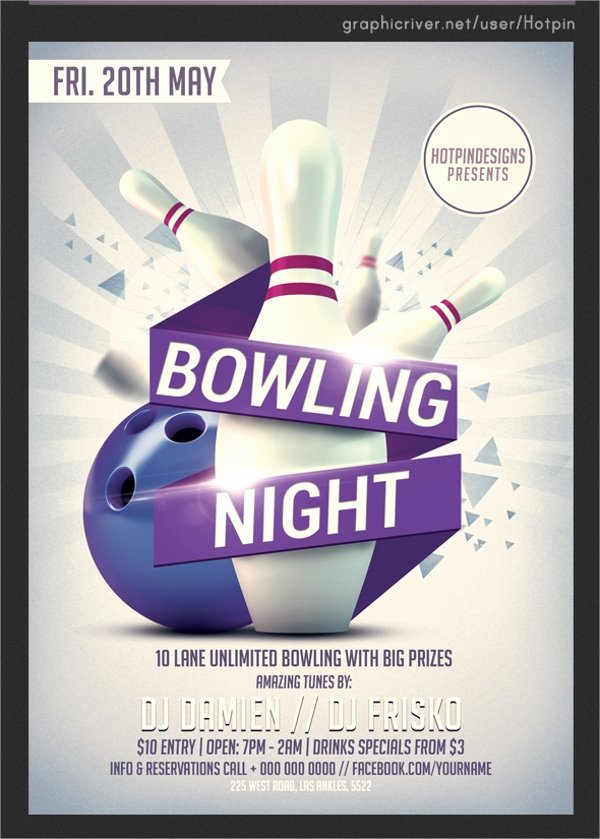 Bowling Flyer Template Free New 23 Bowling Flyer Templates