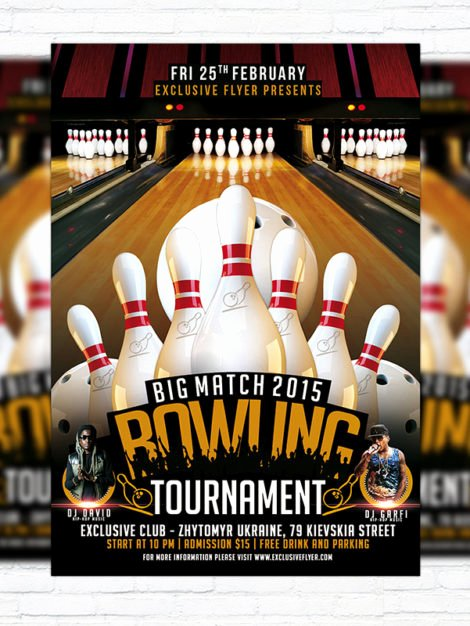 Bowling Flyer Template Free New Bowling tournament – Premium Psd Flyer Template