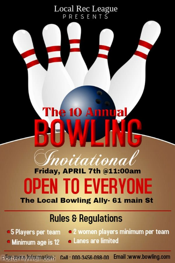 Bowling Flyer Template Free Unique 15 Free Vector Sports Poster Designs Freecreatives