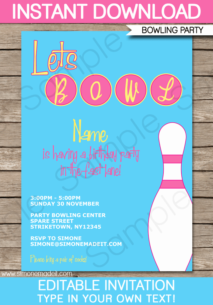 Bowling Invitation Template Free Lovely Bowling Party Invitation Template Pink
