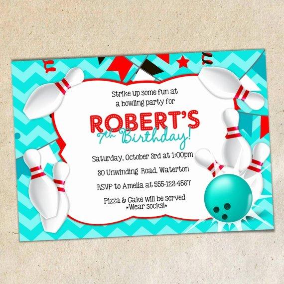 Bowling Invitation Template Free Luxury Bowling Party Invitation Template Chevron Background Bowling