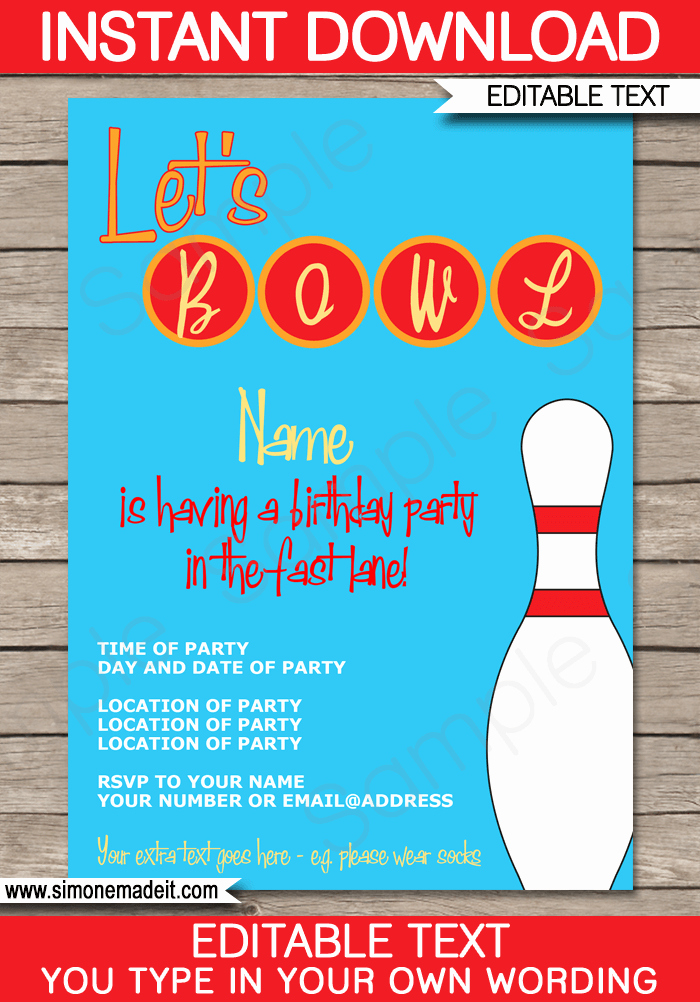 Bowling Invitation Template Free Luxury Bowling Party Invitations Template