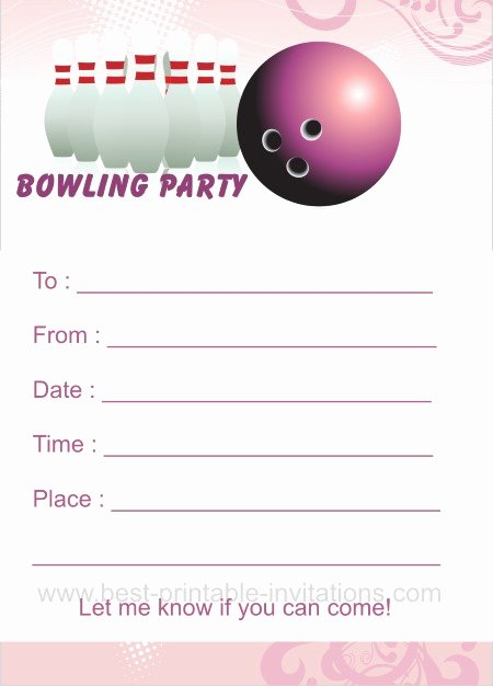 Bowling Party Invitation Template Awesome Bowling Birthday Party Invitations