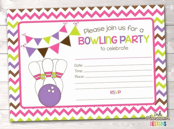 Bowling Party Invitation Template Inspirational Printable Girls Bowling Party Invitation Fill In the Blank