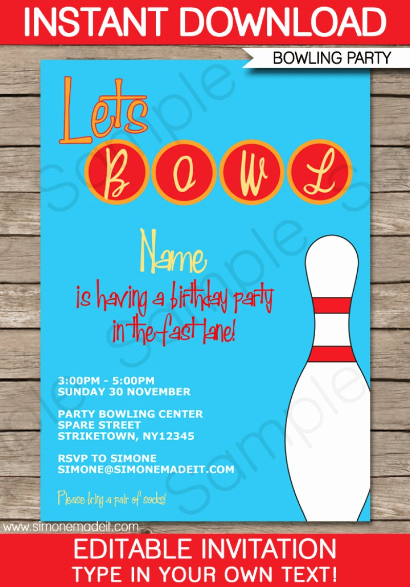 Bowling Party Invitation Template Lovely Bowling Edit Invitation – orderecigsjuicefo