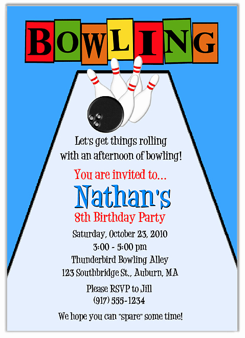 Bowling Party Invitation Template Lovely Bowling Party Invites