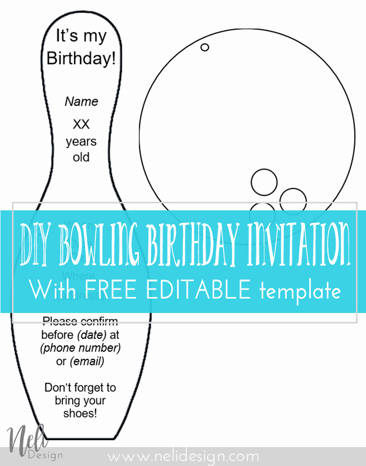 Bowling Party Invitation Template Lovely Diy Bowling Birthday Invitations