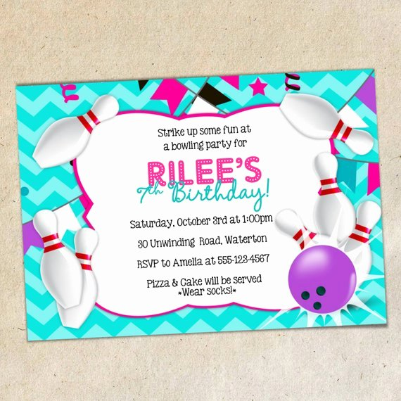 Bowling Party Invitation Template New Girls Bowling Party Invitation Template Girly Chevron